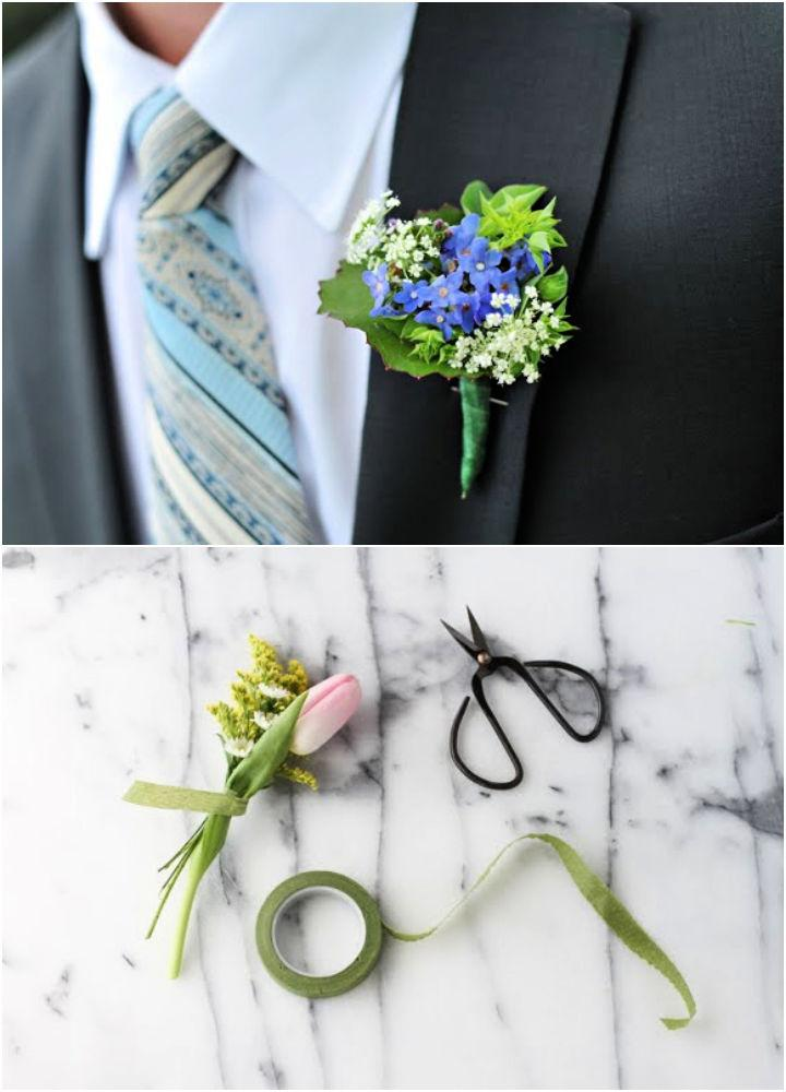Real Flower Boutonniere for Wedding