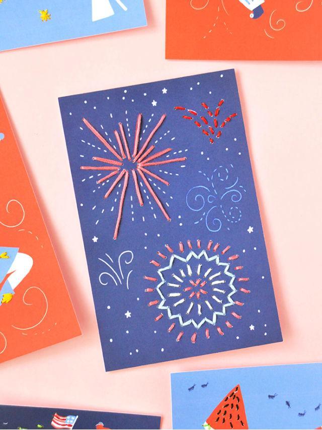 4th Of July Stitching Card