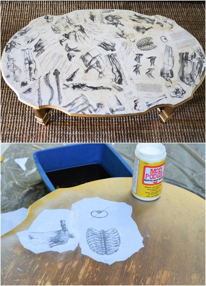 Art Book Decoupaged Coffee Table