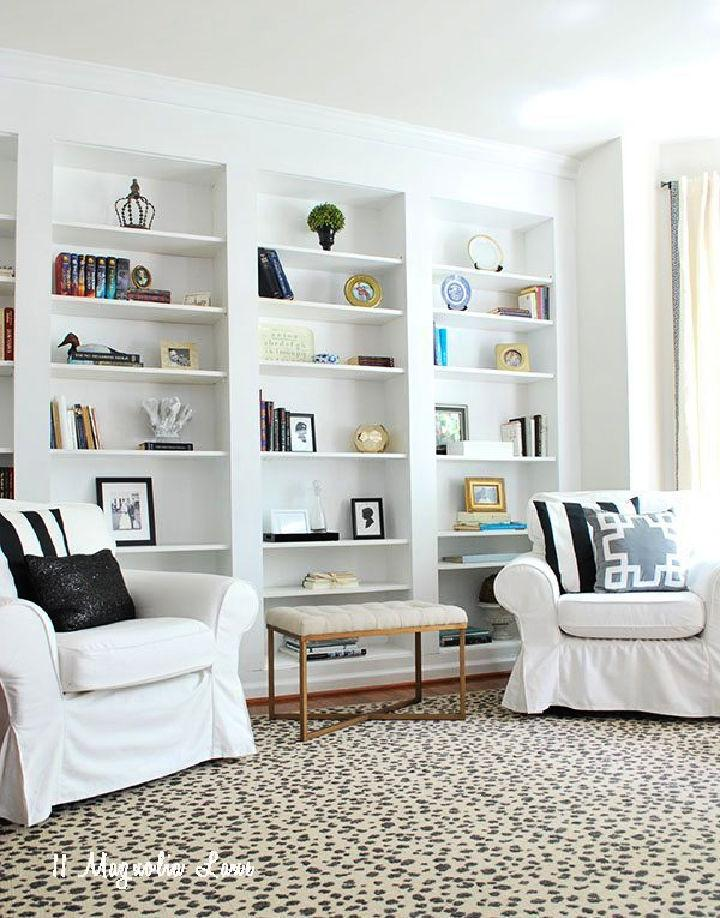 Built in Bookshelves from Ikea Billy Bookcases