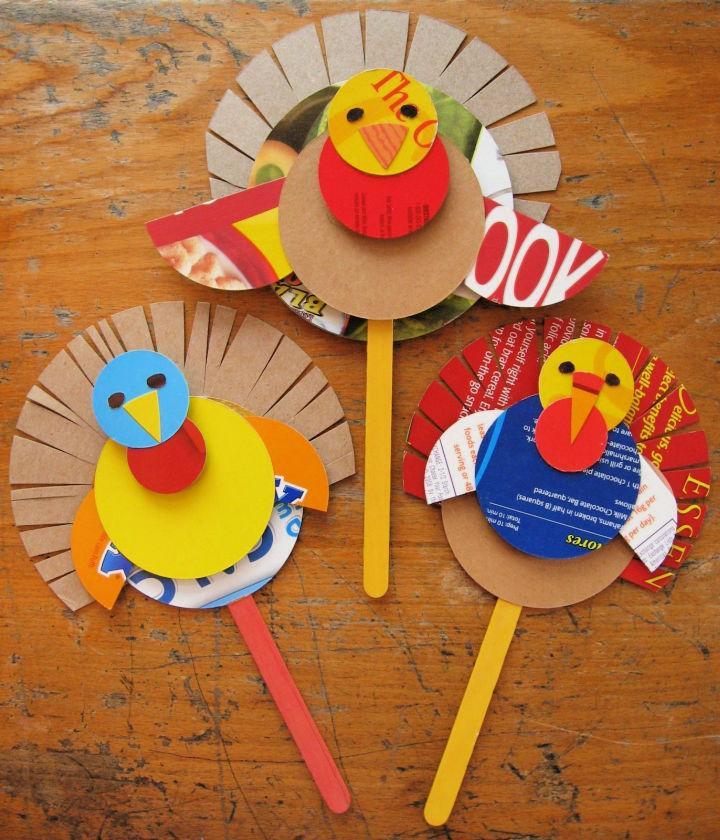 Cereal Box Turkeys Puppets