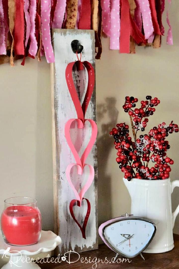 Construction Paper Heart Garland for Valentines Day