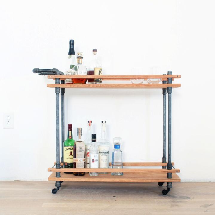 Cool DIY Bar Cart from Oak Boards