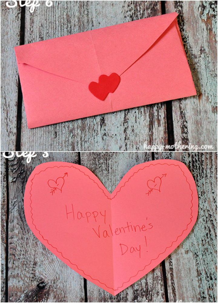Cute Heart Envelope Valentines Day Card