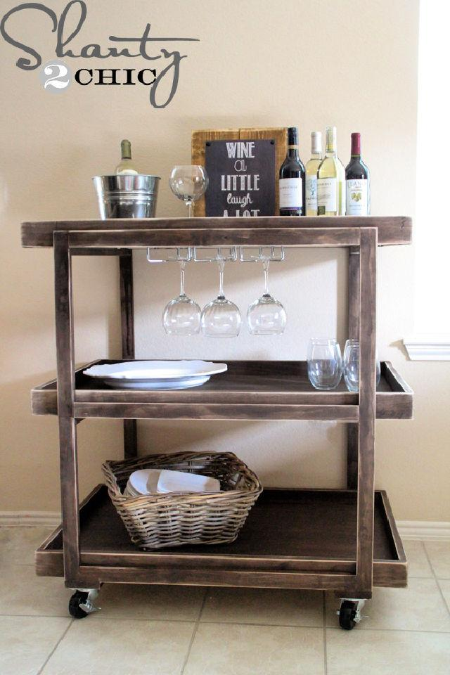 DIY Bar Cart with Wheels for Under 150