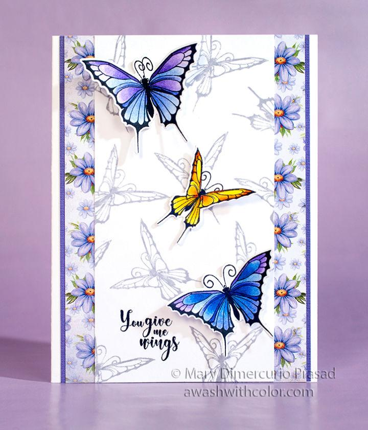 DIY Butterfly Card Colored with Prismacolor Pencils