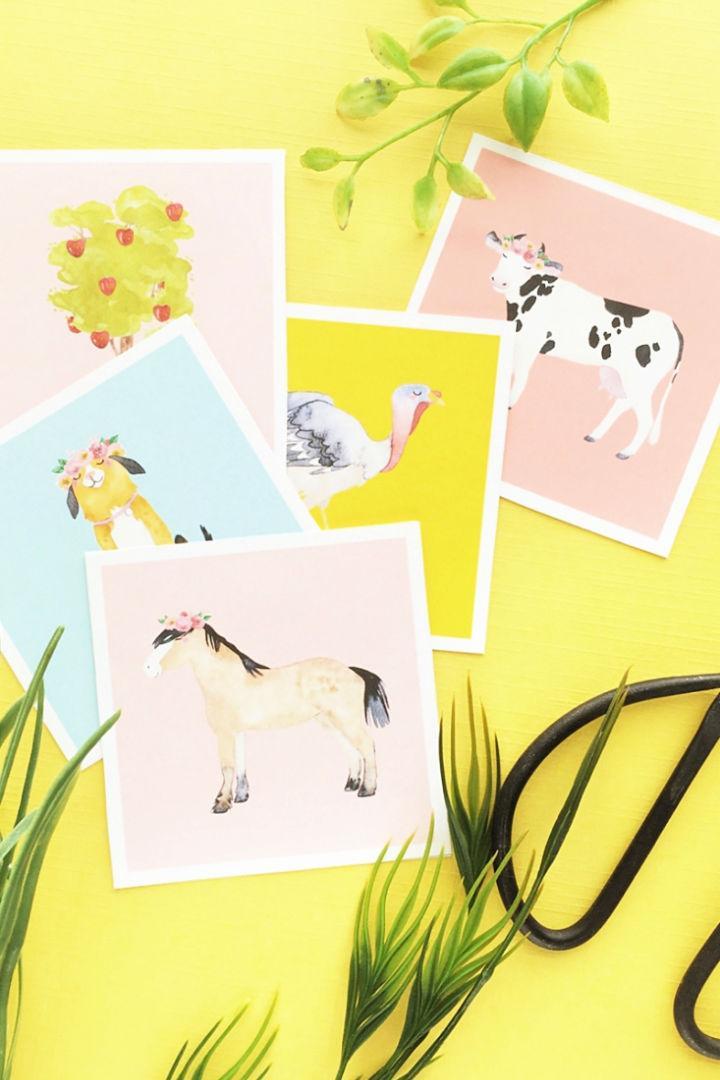 DIY Farm Animal Flash Cards