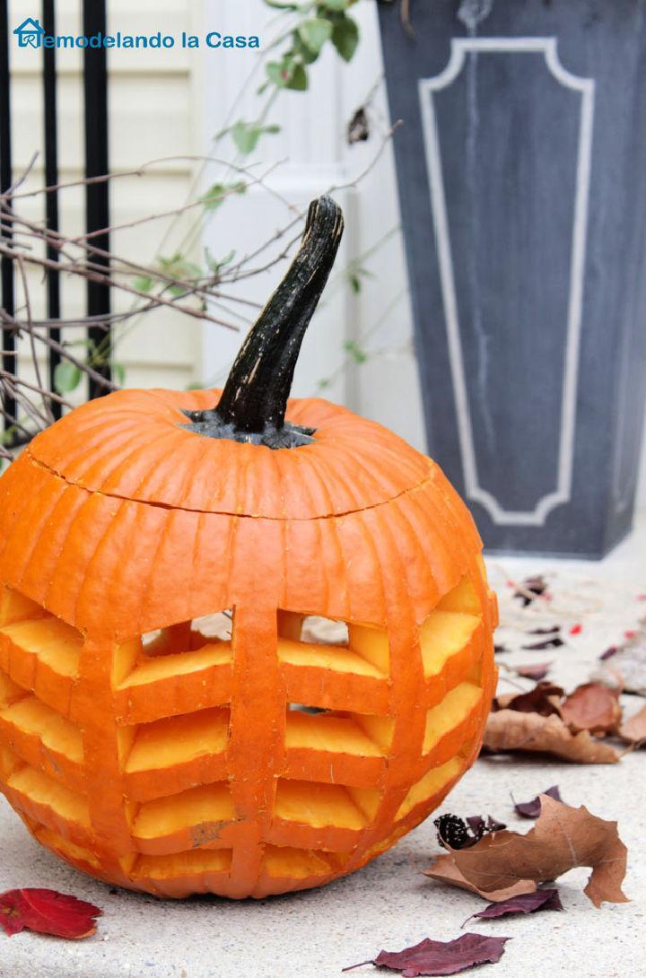 DIY Feather Carved Pumpkin