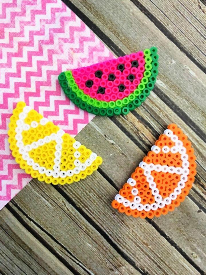 DIY Fruit Perler Bead Magnets