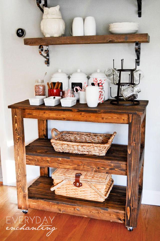 DIY Wood Bar Cart for Entertaining
