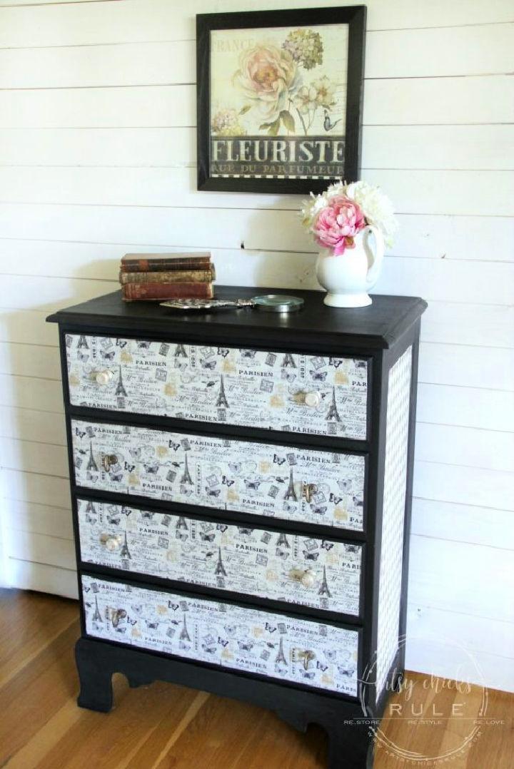 French Fabric Decoupage Dresser