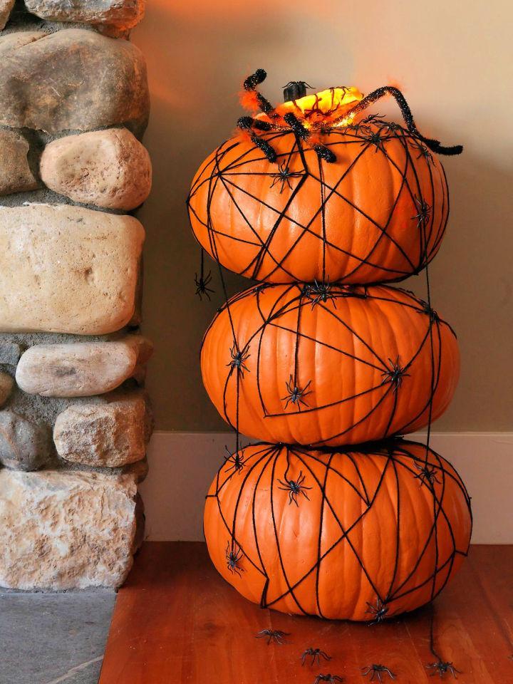 Halloween Pumpkin Topiary with Spiders