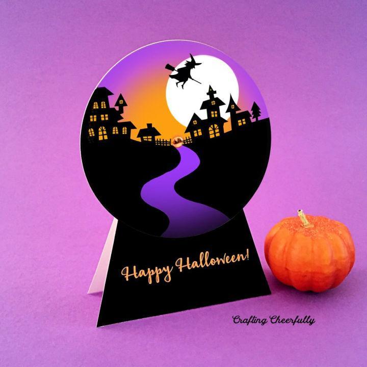 Halloween Snow Globe Card 1