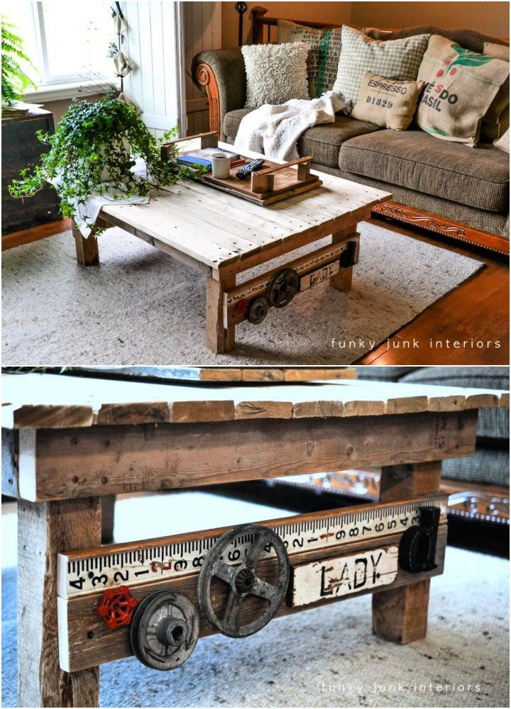 Junk Styled Pallet Wood Coffee Table