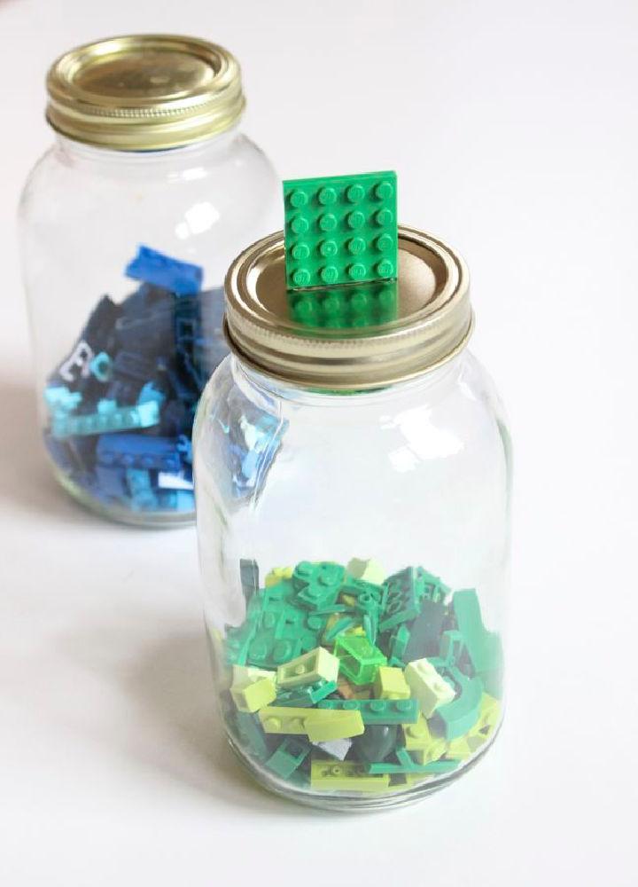 Lego Organizer Using Mason Jar