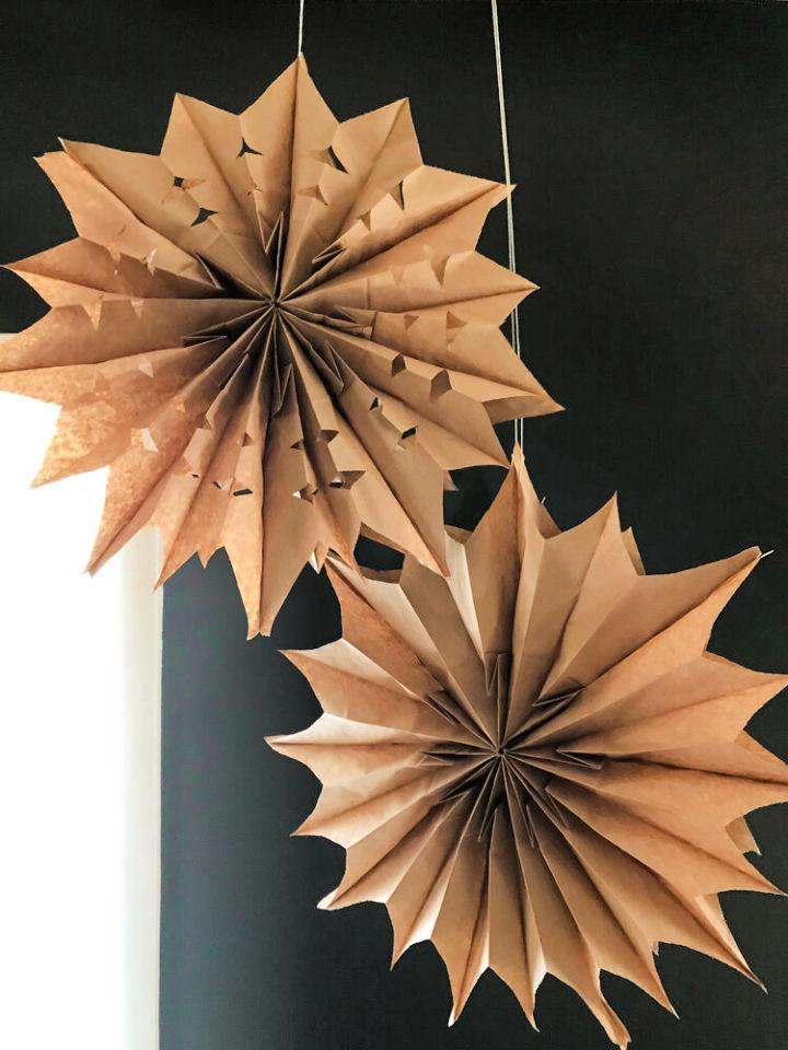 Make Your Own Paper Bag Star Decorations