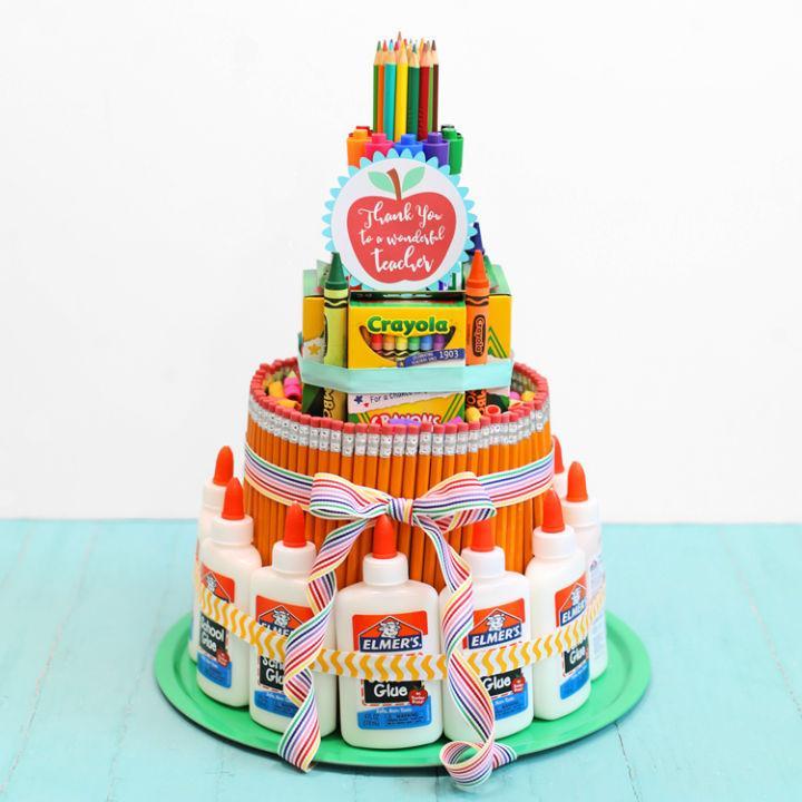Make a School Supply Cake for Teacher