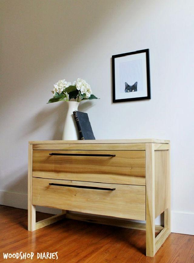 Modern Two Drawer Nightstand