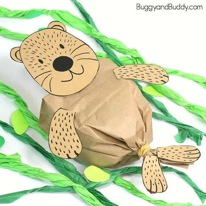 Paper Bag Sea Otter with Free Printable Template