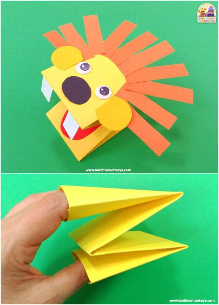 Paper Lion Hand Puppet Craft