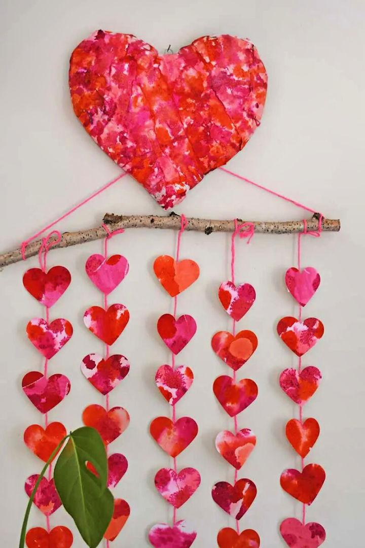 Paper Mache Heart and Watercolor Decoration