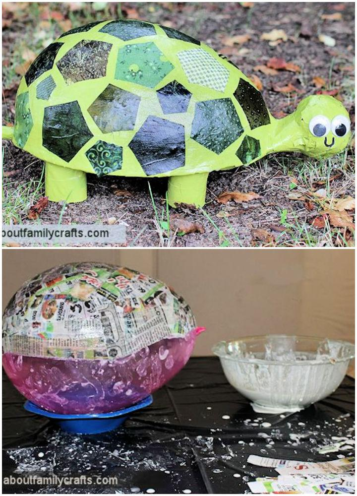 Paper Mache Patchwork Turtle for Elementary Students
