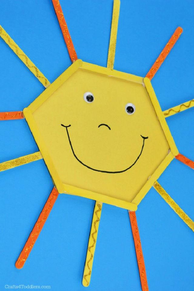 Popsicle Stick and Construction Paper Smiley Sun
