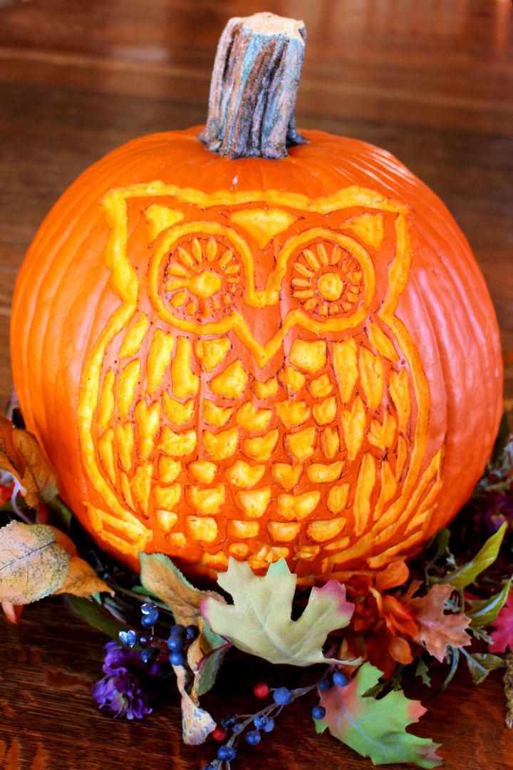 Pumpkin Carving Woodland Owl