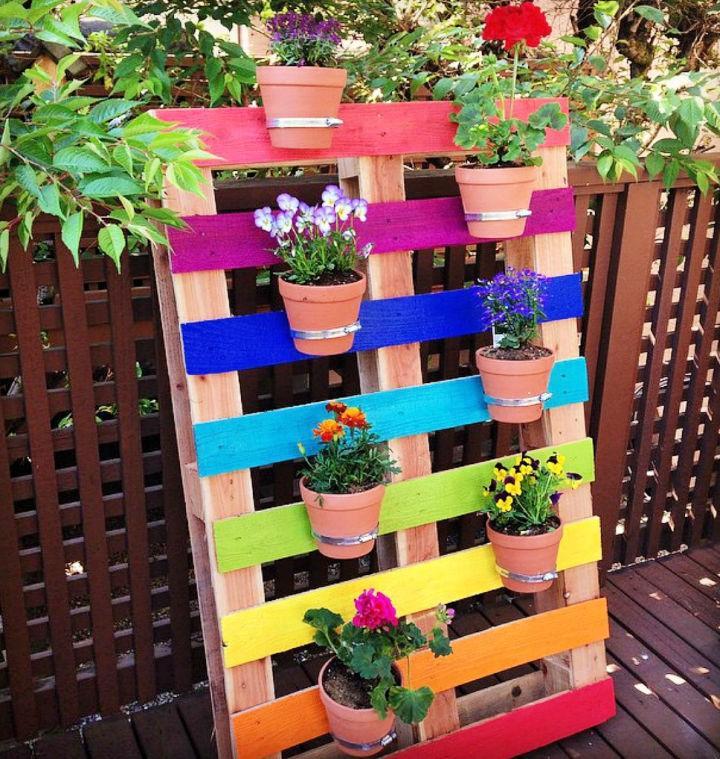 Rainbow Pallet Flower Garden Planter