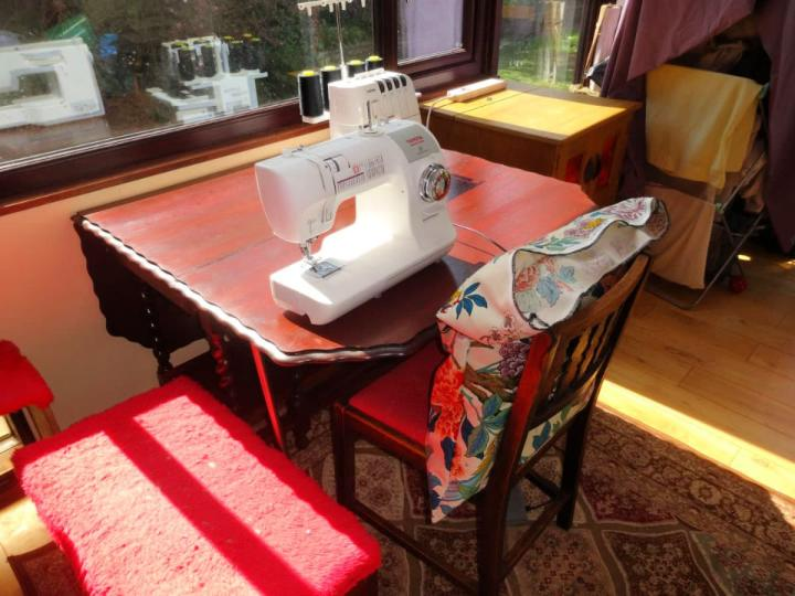 Repurpose an Oak Dining Table Into Sewing Table