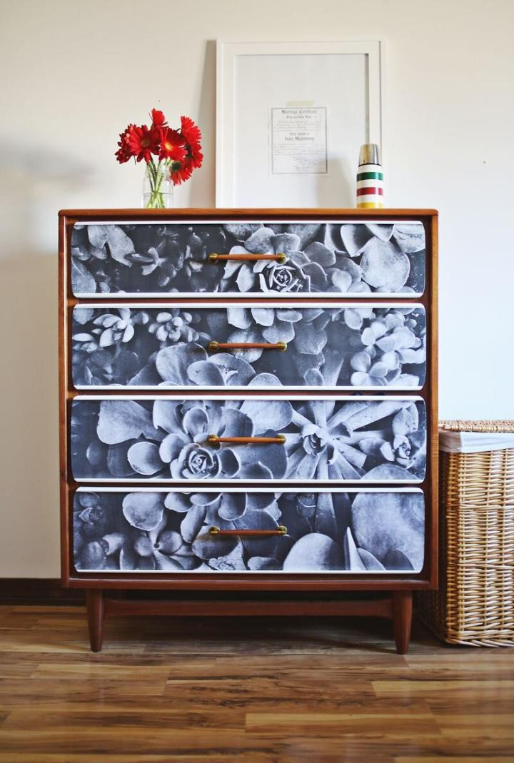Restyle Dresser with Photo Decoupage