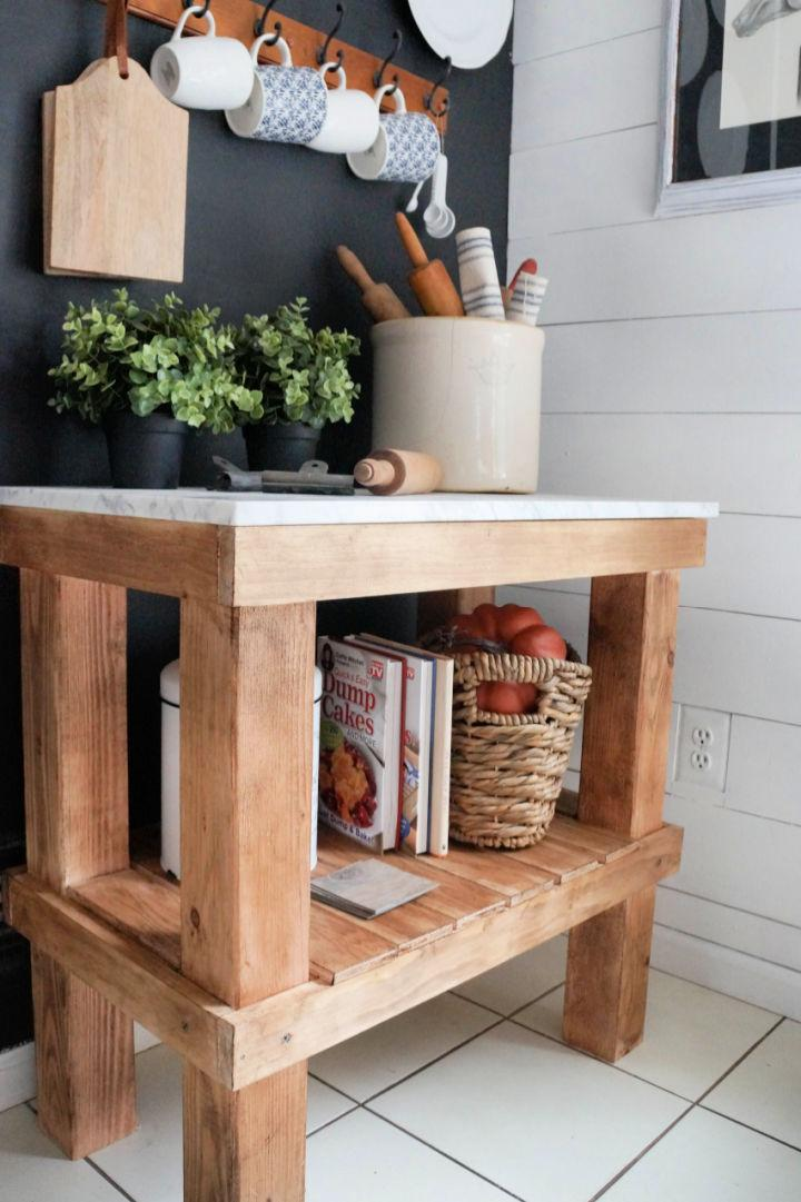 Rustic Kitchen Bar Cart with Marble Top