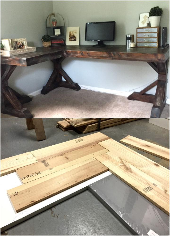 Rustic L Shaped Corner Desk