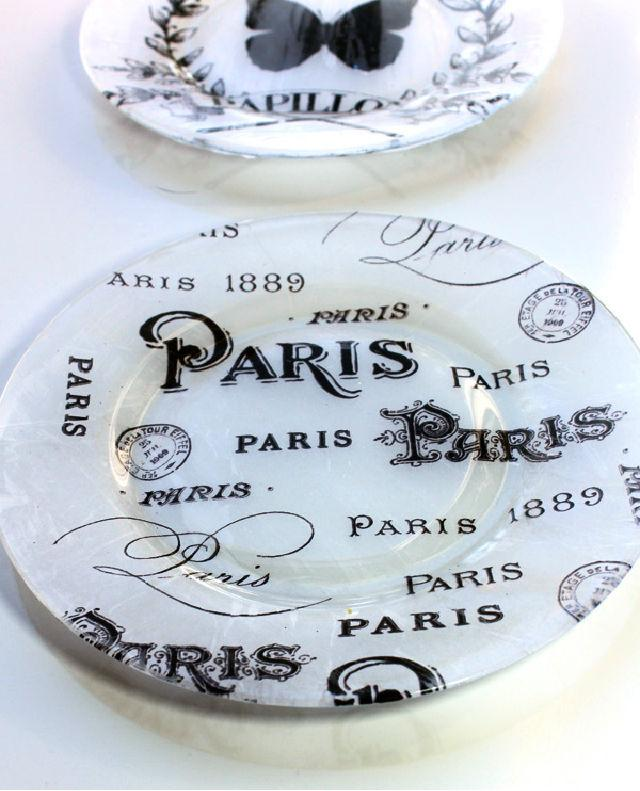 Tissue Paper Decoupage Decorative Plate