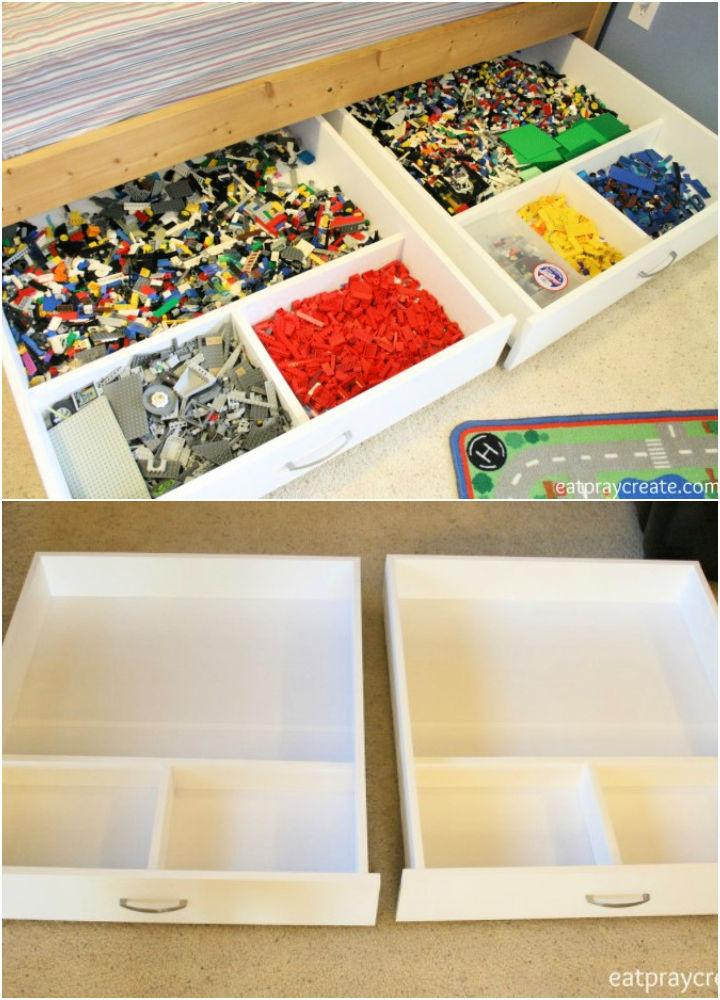 Under the Bed Rolling Lego Storage Drawers