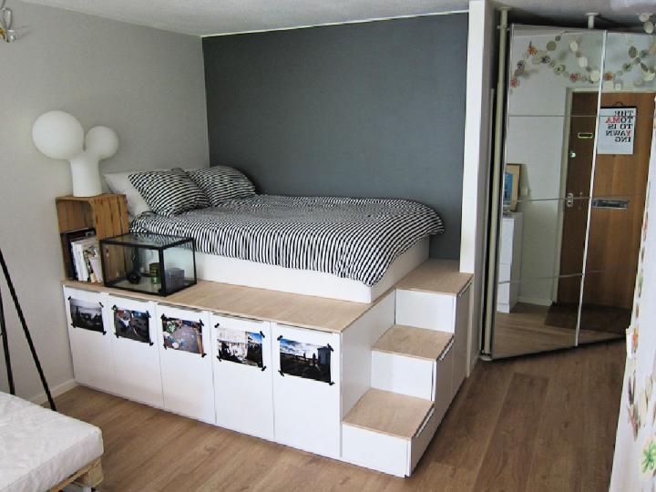 Unique Platform Bed Storage Idea