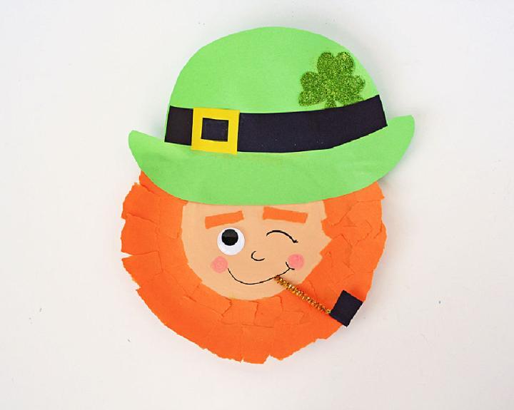 Winking Paper Plate Leprechaun Craft