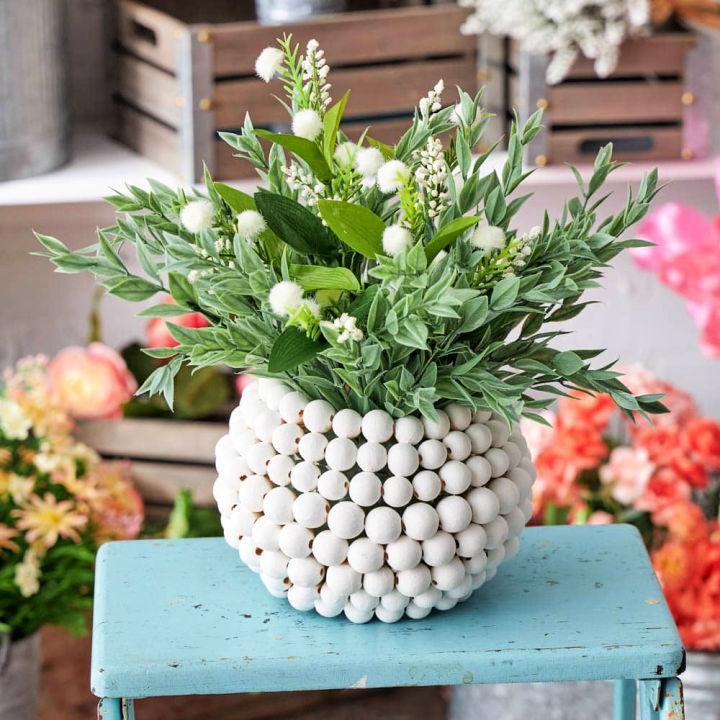 Wood Beaded Vase